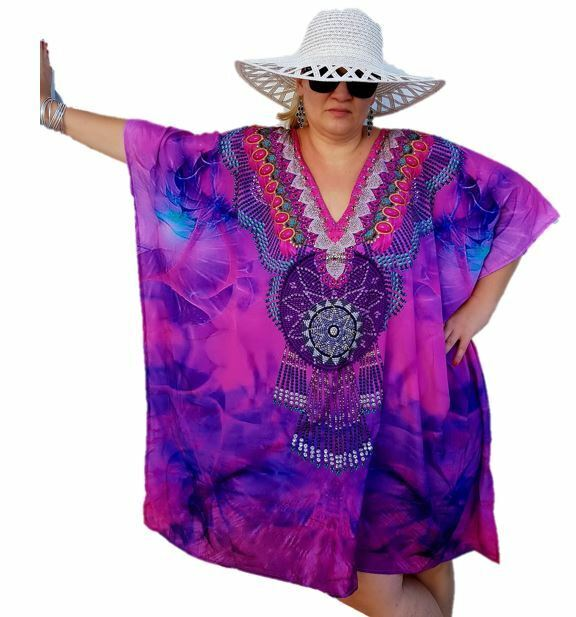 XXXXXXXL rose Embellished SILK Kaftan Dream Catcher plage Caftan V-neck