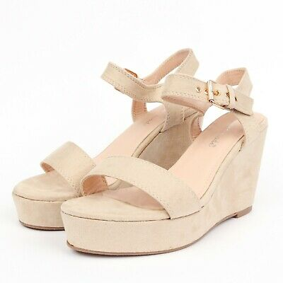 New Women/'s Summer Beige Wedged High Heel Sandals Chunky Straps UK Size 3-8