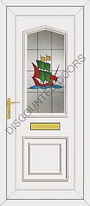 Lincoln One UPVC Front Door, Frame, Letterbox & Galleon Glazed Panel