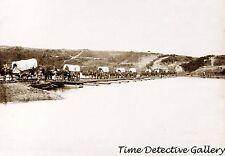 Wagon Train Crossing Pontoon Bridge, Fredricksburg, VA 1865-Historic Photo Print