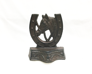 CAST-IRON-Horse-and-Horseshoe-Bookends-Rustic-Brown-Western-Decor