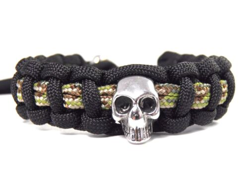 Armband aus Paracord mit Edelstahl Skull-verstellbar-Biker-Männer-Frauen Armband