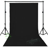 Photo Studio Cotton Muslin Black  Backdrop Background Support Stand  Kit Set  uk