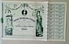 ACTION DE CENT FRANCS COMPAGNIE INTERNATIONALE PHONIQUE PARIS 1907 PHONOGRAPHE