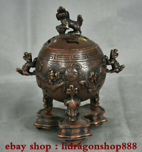 8-034-Rare-vieux-chinois-dynastie-de-cuivre-Pixiu-Lion-bete-pieds-bruleurs-d-039-encens
