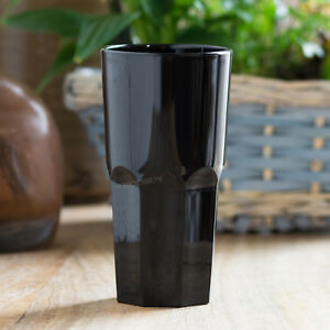 Set of 4 300ml Black Reusable Plastic Drinking Glasses Hi-Ball Tumblers Bar Cup