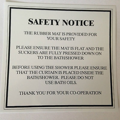 Bathroom Sign Sticker  SAFETY  NOTICE Hotel Guest House SHOWER Room Spa
