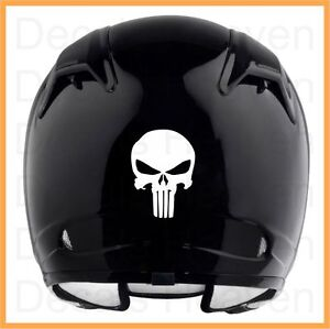 PUNISHER LOGO MOTORCYCLE HELMET WHITE OR BLACK REFLECTIVE VINYL - Vinyl stickers for motorcycle helmets