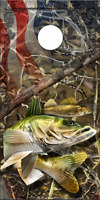Walleye Fish Flag Camo Cornhole Wrap Bag Toss Skin Decal Sticker