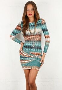 a28efce7392a TORN BY RONNY KOBO Green Multi Print Long Sleeve Mini Dress Sz S ...