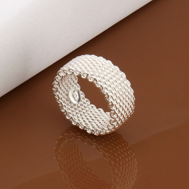 Women's 925 Sterling Silver Plated Mesh Plain Solid  Band Ring Jewelry US Size