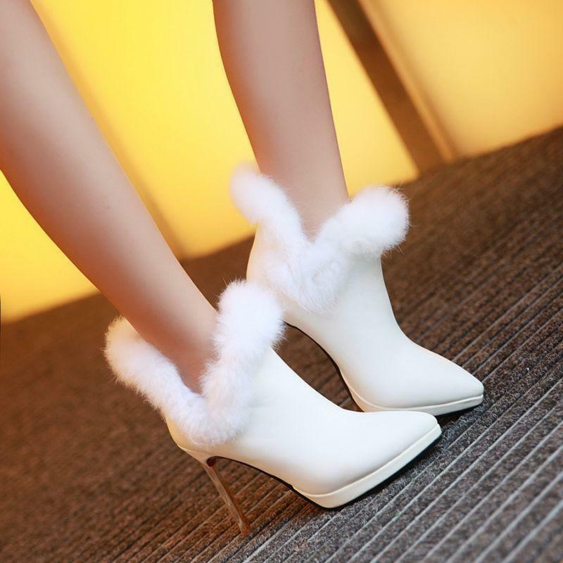 13 Women Stiletto High Heel Pointy Toes Fur Furry Winter Warm shoes Ankle Boot