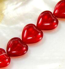 Czech Glass Transparent Red Heart Shaped Beads, 16x15mm 12 Pieces