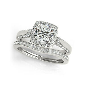 1.40 Ct Round Moissanite Engagement Band Set Real 18K White Gold Rings Size 8 9