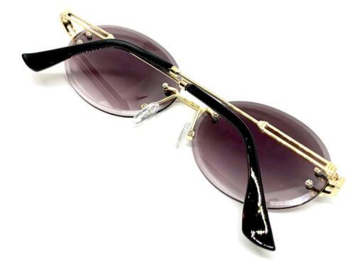 Classy Elegant Sophisticated LUXURY Fashion SUN GLASSES Rimless Gold Metal Frame