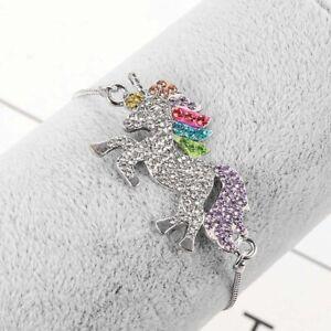 Crystal-Unicorn-Animal-Cartoon-Horse-Pendant-Bracelet-Women-Kids-Jewelry-Bangle