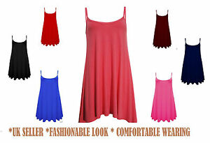 New-Womens-Sleeveless-Long-Cami-Plain-Strappy-Swing-Vest-Camisole-Dress-Top-cmiL