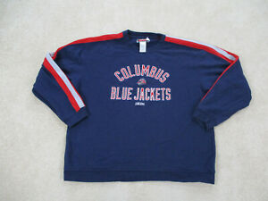 VINTAGE-Columbus-Blue-Jackets-Sweater-Adult-2XL-XXL-Blue-Red-NHL-Hockey-Mens-90s