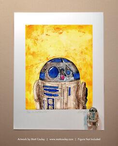 Star Wars R2-D2 Vintage Kenner Action Figure ORIGINAL ART PRINT 3.75 Artwork