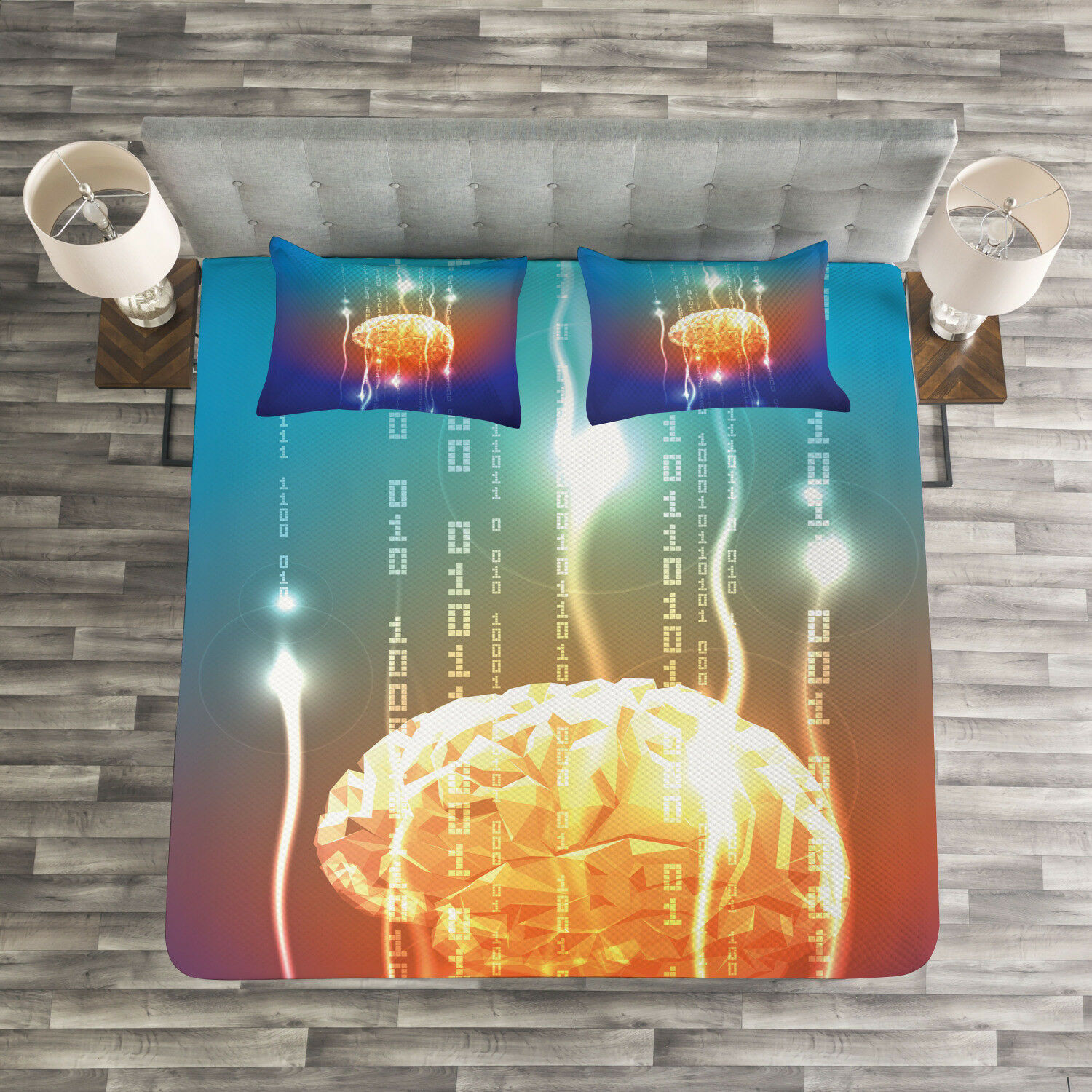 Fantasy Quilted Bedspread & Pillow Shams Set, Abstract Binary Digit Print