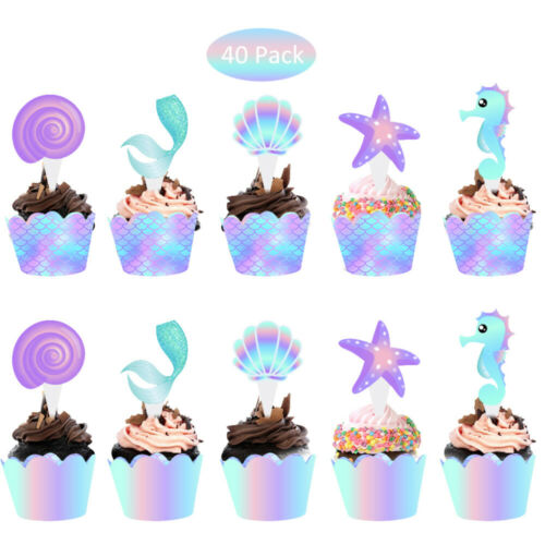 40Pcs//lot Mermaid Cake Topper Baby Shower Birthday Party Supplies Dessert Decor