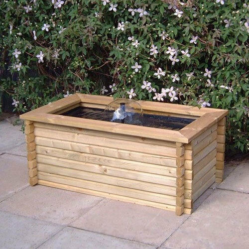 RECTANGULAR RAISED GARDEN POOL WATER FEATURE 60 GALLON POND WITH LINER U0026  PUMP