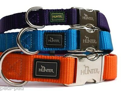 HUNTER NYLON DOG COLLAR WITH ALU-STRONG CLIP - LOTS OF COLOURS & DESIGNS