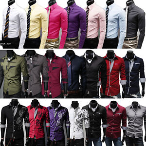 Men-Slim-Fit-Casual-Formal-Business-Long-Sleeve-Dress-Shirts-Tops-T-Shirt-Blouse