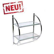 Modernes Badregal Wandregal mit 2 Glasböden und 2 Handtuchstangen 45 x 26 x 54cm