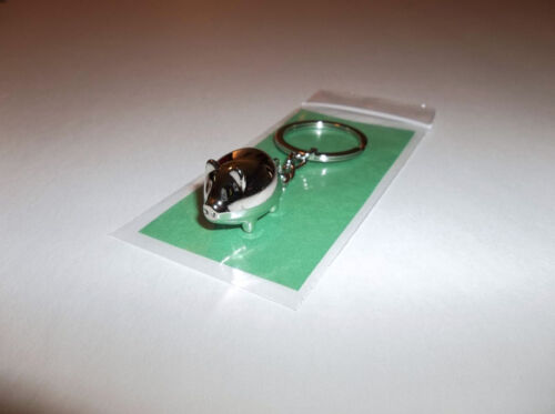 Pet Pig Keychain Miniature Chrome Piggy Piglet Keyring-Mini Lucky Charm Gift New