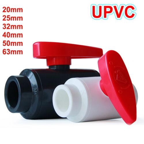 PVC-U Ball Valve Stop Valve Water Pipe Fittings 20-63mm Aquarium RED Handle