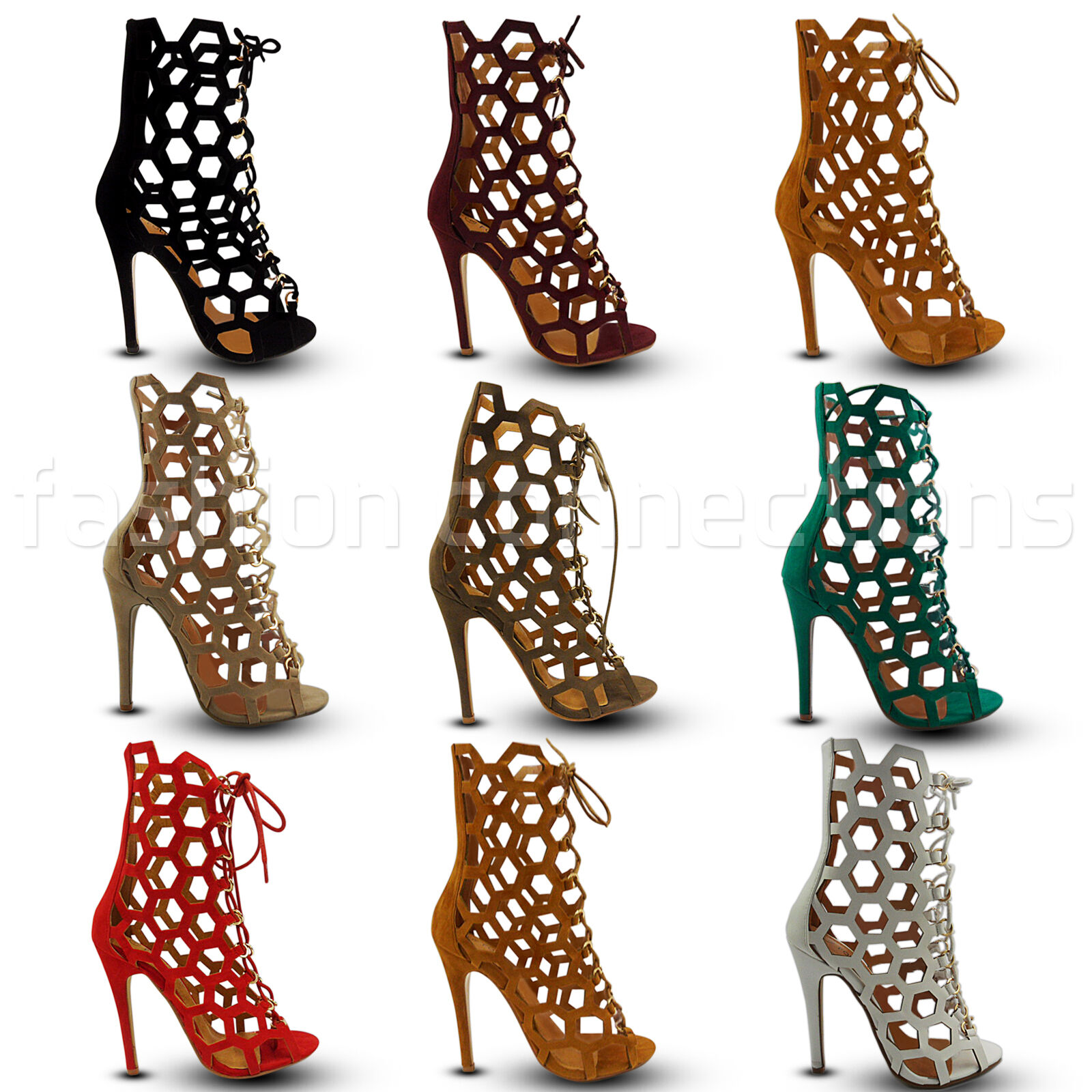 NEW LADIES HIGH STILETTO HEEL CUT OUT LACE UP OPEN TOE ANKLE BOOTS SHOES SIZE