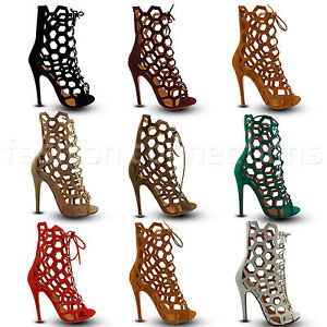Donna Gladiator Stiletto High Heel Lace up Peep Toe Ankle Stivali