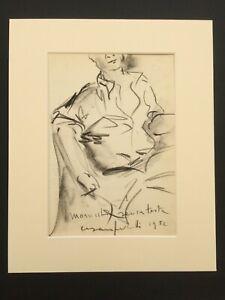 Original Cesare Peverelli Dessin Original Signé 1952 Portrait Italian Artiste