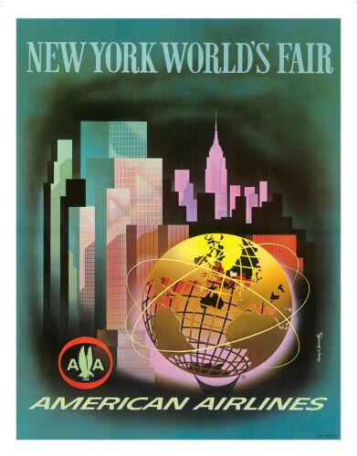 New York Skyline World Fair Vintage Airline Travel Art Poster Print Giclée