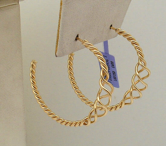 1 3 8  All Shiny Graduated Twisted Wire Hoop Earrings Real 14K Yellow gold