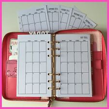 2017 PERSONAL Planner Size Insert Filofax Kikkik Punched Month On 2 Pages