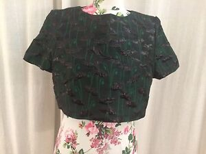 Topshop-Limited-Edition-Green-Poppy-Jacquard-Crop-Top-UK-Size-16-BNWT-RRP-65