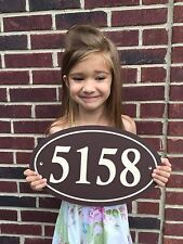 """Oval House Number Sign Address Plaque  14x8.5 1/4"""" King ColorCore Brown/Tan"""