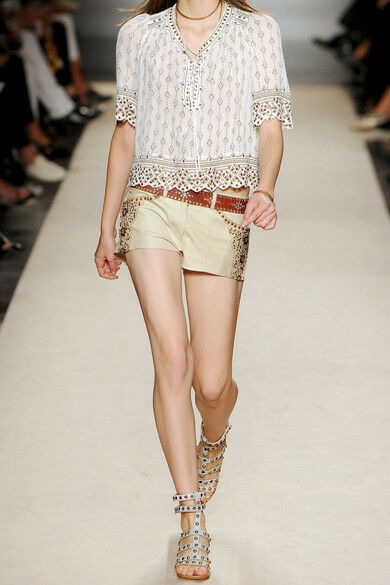 NEW Isabel Marant Beige Devin Leather Embroidered Shorts F 40