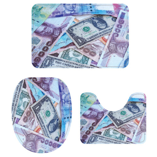 Creative Money Print 3pcs Non-Slip Pedestal Rug Set Bath Mat Rug Toilet Cover