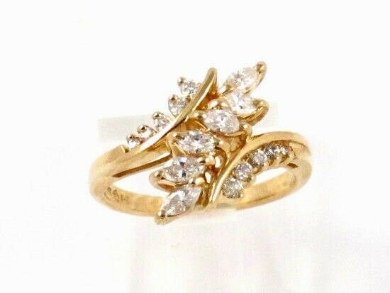 14k Yellow gold Marquise Round Diamond Cluster Right Hand Ring .60ct