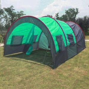 Image is loading 8-10-People-C&ing-Tents-Waterproof-Tunnel-Double- & 8-10 People Camping Tents Waterproof Tunnel Double Layer Large ...