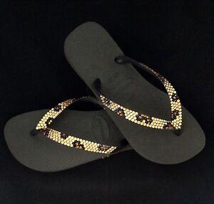 d99d6c181f654 Details about Crystal Havaianas or Wedge Gold Leopard Flip Flops w/  Swarovski Rhinestone Shoes