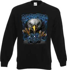 Sweatshirt-in-schwarz-HD-Biker-Chopper-amp-Old-Schoolmotiv-Modell-Ride-like-the