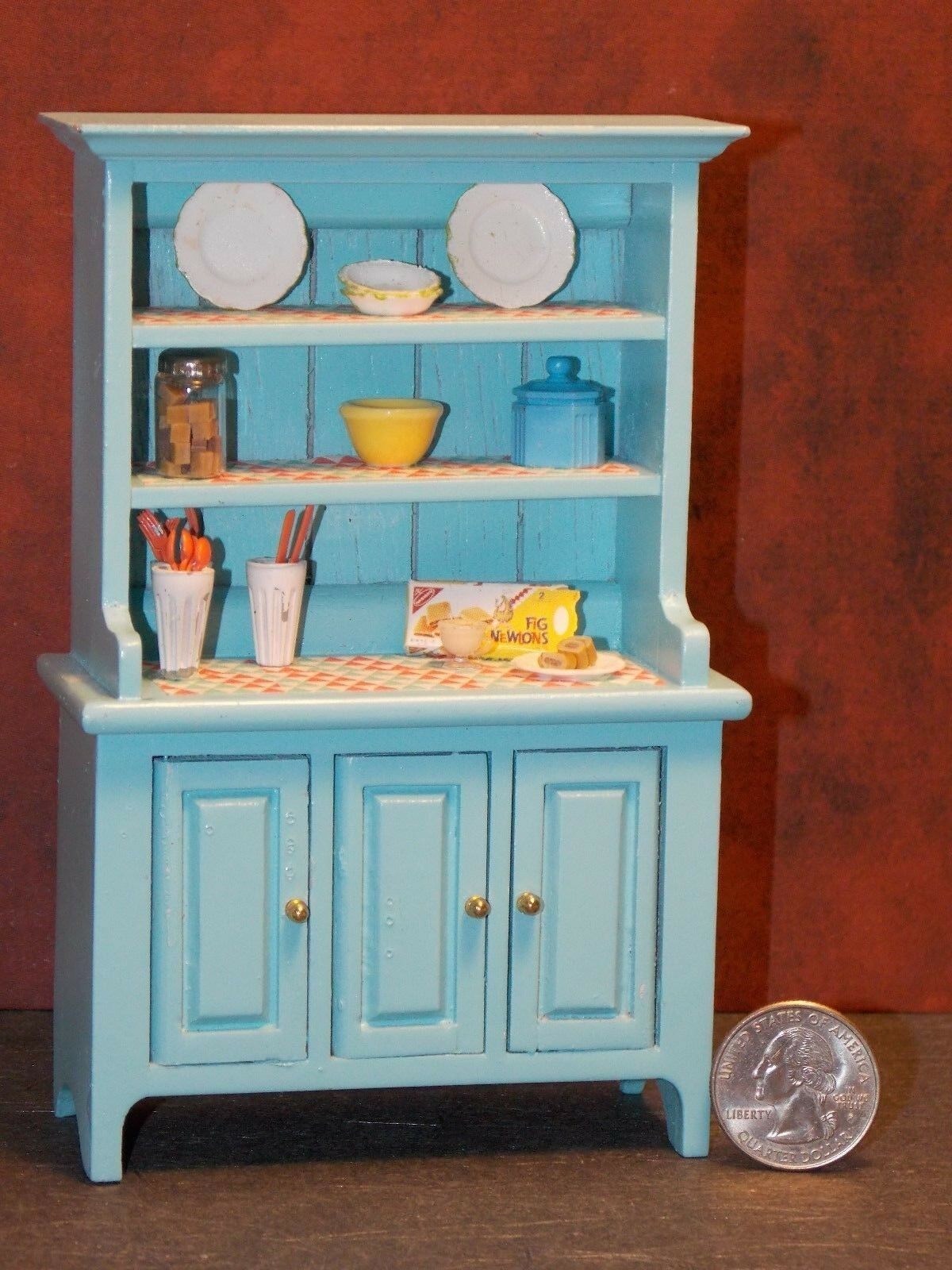Dollhouse Miniature Kitchen Hutch Cabinet 1:12 inch scale  A59  Dollys Gallery