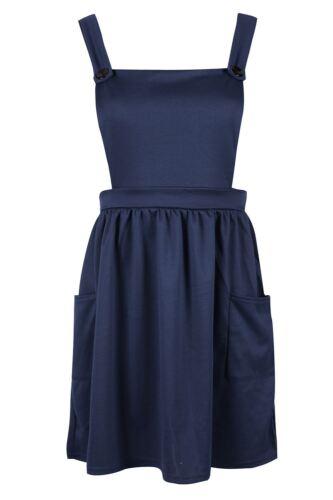 Femmes-tablier playsuit pour femme dungarees poche latérale mini robe patineuse uk 8-14