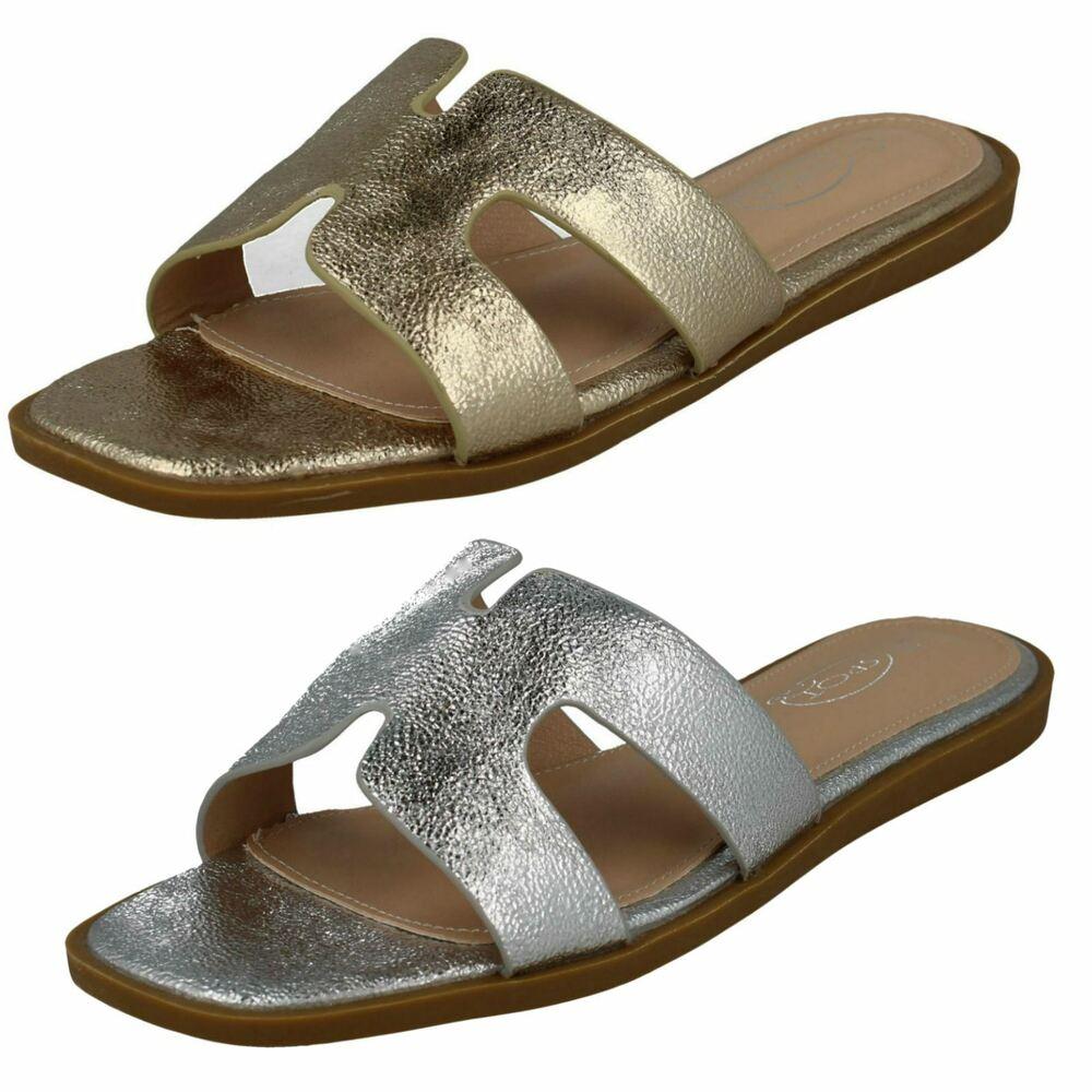 Mesdames curseurs plate lacet décontracté plage mules sandales pantoufles taille M-18