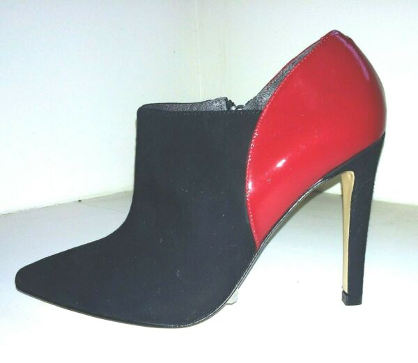 ! Nuevo! El Dantes Negro Gamuza Y Rojo Charol Botas Zapato-ver