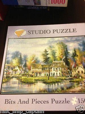 Studio 1500 pc puzzle VILLAGE LAKE Kirk Randle BITS AND PIECES 100% Complete